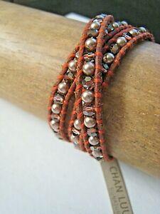 Chan Luu Bracelet 3 Wrap Bronze Pearl & Crystal Spice on Chestnut Leather NWT