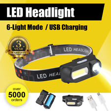 Rechargeable Head Torch Waterproof  Headlight LED USB Headlamp FREE BATTERY AU