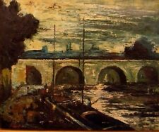 OLD IMPRESSiONiST OiL PAiNTiNG SAiLBOAT RiVER BRiDGE BOAT CITYSCAPE PEOPLE O/C