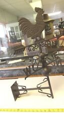 CAST IRON TOP GARDEN WALL FENCE MOUNT CHICKEN WEATHER VANE