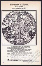 1972 Walt Disney World map art Eastern Airlines vintage print ad