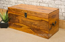 SOLID ROSEWOOD SHEESHAM WOOD VINYL LP STORAGE TRUNK BOX CHEST LOCKABLE - DOUBLE