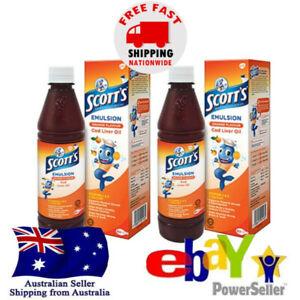 2x Scott's Emulsion Cod Liver Oil Orange Flavor Minyak Ikan Kod Rasa Jeruk Halal