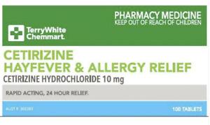 SAME AS ZYRTEC - Cetirizine 10mg *100* Allergy Sinus Relief FREE SAME DAY POST