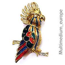 Modeschmuck Brosche Emaille vergoldet Kakadu Papagei Ara vintage enamel brooch
