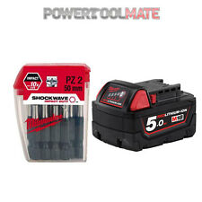 Milwaukee M18B5 18V 5.0ah Red Lithium Ion Li-On Battery + 4932352980 Bit Set