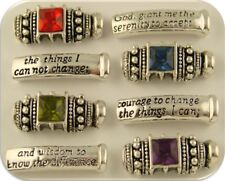 2 Hole Beads Engraved Serenity Prayer Bars with Jeweltone Lanterns Sliders QTY 8