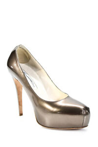 Brian Atwood Womens Patent Leather Platform High Heels Pumps Taupe Size 38 8