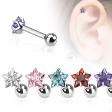 1 x 16g Star CZ Pronged Tragus-Cartilage Piercing Stud 316L Surgical Steel
