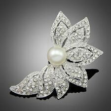 Silver Pearl Flower Leaf Rhinestone Crystal Wedding Jewelry Brooch Pin For Women