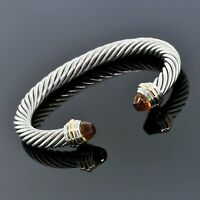 David Yurman 925 Sterling Silver 18K Gold Citrine 7mm Cable Classic Bracelet