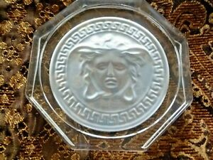 Versace Rosenthal Medusa Glass Coaster Crystal Clear Brand New