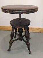Antique Holtzman Piano Stool Wood Brass Claw/Eye Glass Ball Turn O'Century Spins