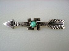 OLD Fred Harvey era STAMPED STERLING SILVER & TURQUOISE WHIRLING LOGS ARROW PIN