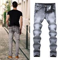 Fashion Mens Slim Biker Straight Washed Denim Trousers Skinny Jeans Pants Casual