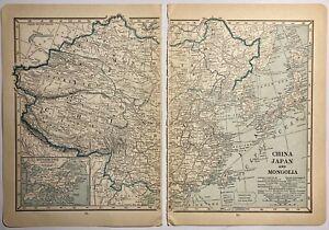 British Isles 1919 Map China Japan Mongolia Two Piece Vintage Map Hong Kong