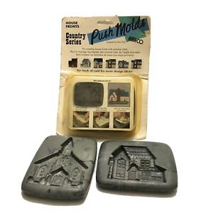 Vintage AMACO Clay Push Molds Country Series 1999 - 2000 House #1, 4 And 6