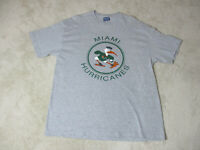 VINTAGE Miami Hurricanes Shirt Adult Large Gray Green UM Football Ibis Mens 90s