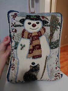 Anne Mortimer Winter Snowman Cat Tapestry Pillow