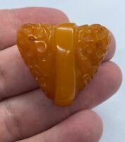 Vintage Butterscotch Bakelite Carved Floral Motif Heart Shaped Fur Clip