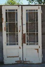 Alte Innentür zweiflüglig Weichholz Glaseinsatz Sprossen Tür um 1900 - 1920