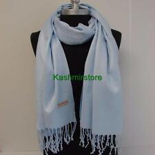NEW Women Soft PASHMINA Cashmere SILK Classic Shawl Scarf Solid Light Blue #W01