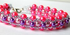 """Laura"" Shades of Pink and Purple Pearls. Handmade Bracelet by Slave Violet"