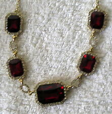 Clear Crystal & Red Multi facet Square glass Necklace gold tone New #125