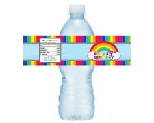 Set of 5 Colorful Rainbow Water Bottle Drink Labels Baby Shower Birthday
