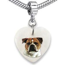 Old English Bulldog Heart Mother Of Pearl European Bracelet Charm Bead Ebs46