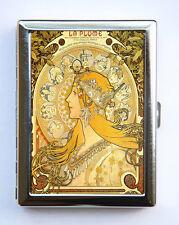 Art Nouveau Goddess Cigarette Case id case Wallet Business Card Holder zodiac