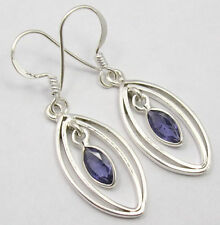 925 STERLING Silver MARQUISE Style Beautiful IOLITE URBAN STYLE Earrings 1.6""