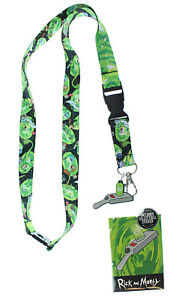 Rick And Morty Lanyard with ID Holder, Portal Gun Rubber Charm and Sticker