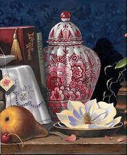 Elegant Ladies Study, Books, Tea, Oriental Vase WALLPAPER BORDER