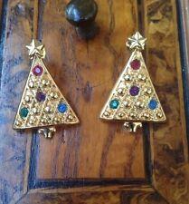 Rare! Vintage 1970 Avon Christmas Tree Earrings Orecchini Albero Di Natale