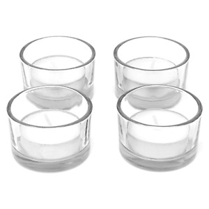 Set of 12 Circle Tea Light Candle Holders Modern Clear Glass Design M&W