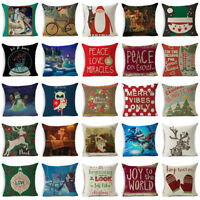 Xmas Christmas Pillow Case Cotton Linen Throw Sofa Cushion Cover Home Decor Gift