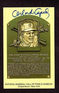 ORLANDO CEPEDA  SIGNED Hall Fame Plaque HOF Yellow  Postcard Autographed  COA
