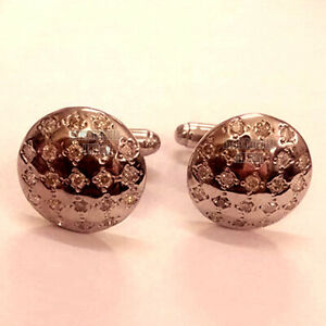 Vintage 1.05cts Natural Old Mine Rose Cut Diamond Silver Men's Cufflinks Jewelry
