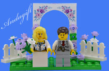 LEGO lilac / lavender wedding set cake topper with bride and groom flowers