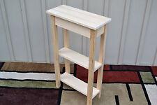 "Unfinished 18"" Narrow Console Sofa, Shaker Square Edge Pine Table w/2 Shelves"