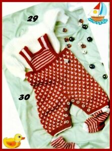 KNITTING PATTERN Baby dungarees suit jumper 3-6M socks romper 4ply (1167)