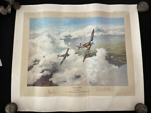 Duel Of Eagles By Robert Taylor, Signed By Douglas Bader And Adolf Galland Print