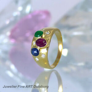 Ring in 585/- Gelbgold - Rubin, Smaragd. Saphir + 5 Diamanten 0,20 ct. W/SI