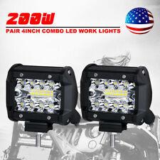 2x 4 inch Cree LED Work Light Bar 200W Spot Flood Combo Triple Row Driving Lamps