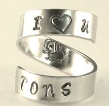 I Love You Tons Cute Elephant Spiral Hand Stamped Ring BFF Gift