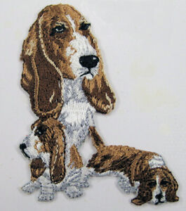 Basset Hound dog heat seal embroidered badge