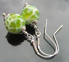 Green Agate Costume Earrings