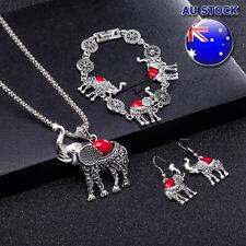 998edbf24f95 Por Mayor Collar Colgante Elefante Estilo Retro Rojo Turquesa Aretes  Pulsera Set