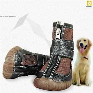 Dog Shoes Large Big Dog PU Leather Sport Shoe Waterproof Boots Non-Slip Rain